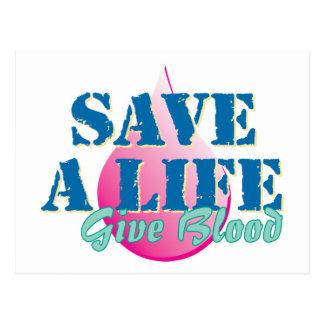 Retten Sie ein Leben - geben Sie Blut Postkarte
