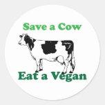 Retten Sie eine Kuh Runde Sticker