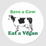 Retten Sie eine Kuh Runder Sticker