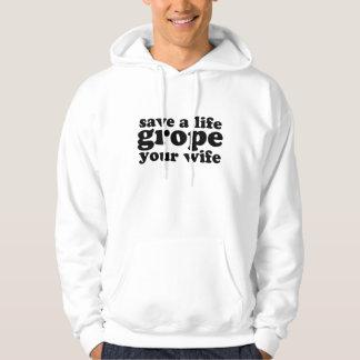 Retten Sie einem Leben-Herumtasten Ihre Ehefrau Hoodie