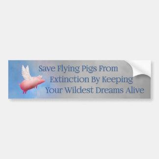 Retten Sie Fliegen-Schweine Autoaufkleber