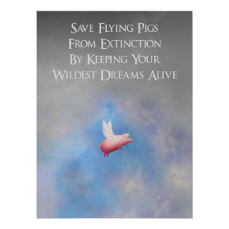 Retten Sie Fliegen-Schweine Poster