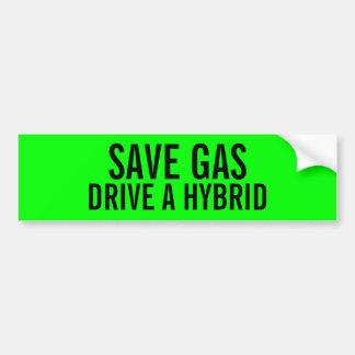 Retten Sie Gas-Antrieb einen hybriden Autoaufkleber