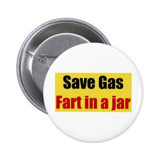 Retten Sie Gas-Furz in einem Glas Runder Button 5,1 Cm