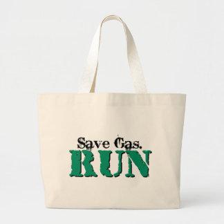 Retten Sie Gas. Laufen Sie Leinentasche