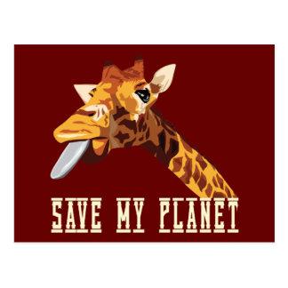 Retten Sie meine Planeten-Giraffe Postkarte