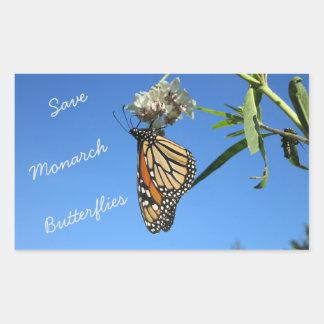 Retten Sie Monarch-Schmetterlinge Rechteckiger Aufkleber