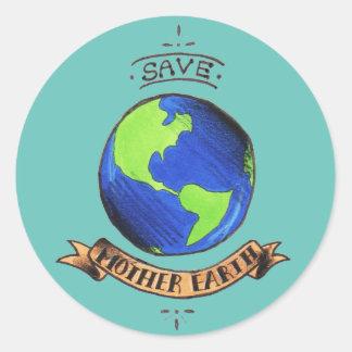 Retten Sie Mutter-Erde Runder Aufkleber