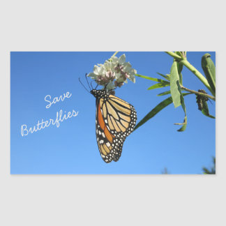 Retten Sie Schmetterlinge Rechteckiger Aufkleber