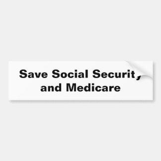 Retten Sie Sozialversicherung u. Medicare Autoaufkleber
