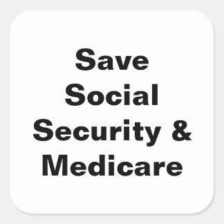 Retten Sie Sozialversicherung u. Medicare Quadratischer Aufkleber