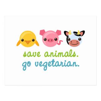 Retten Sie Tiere gehen Vegetarier Postkarte