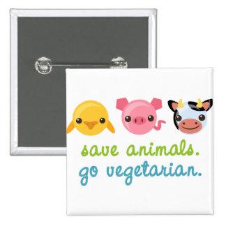 Retten Sie Tiere gehen Vegetarier Quadratischer Button 5,1 Cm