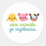 Retten Sie Tiere gehen Vegetarier Runder Sticker