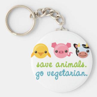 Retten Sie Tiere gehen Vegetarier Standard Runder Schlüsselanhänger