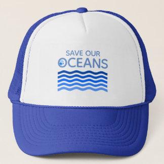 Retten Sie unsere Ozean-Blau-Stylized Erdwellen Truckerkappe