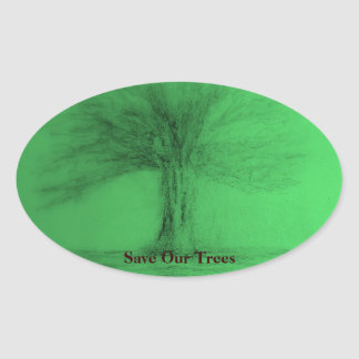 Retten Sie unseren Baum-Aufkleber Ovaler Aufkleber