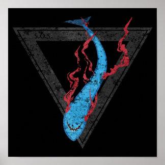 retten Sie unseren Haifischen PAS-Dreieck Poster