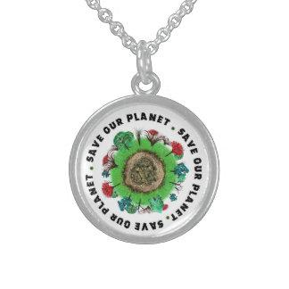 Retten Sie unseren Planeten-Slogan und Ikone Sterling Silberkette
