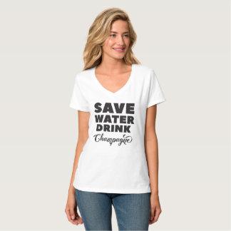 Retten Sie Wasser, Getränk Champagne T-Shirt
