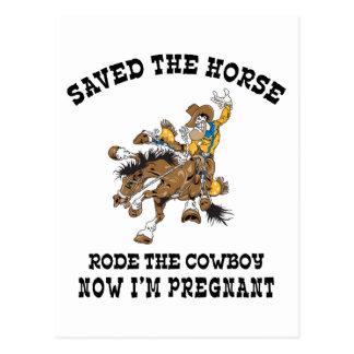 Rettete das Pferd ritt den schwangeren Cowboy