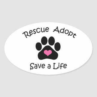 Rettung, adoptieren, retten ein Leben Ovaler Aufkleber