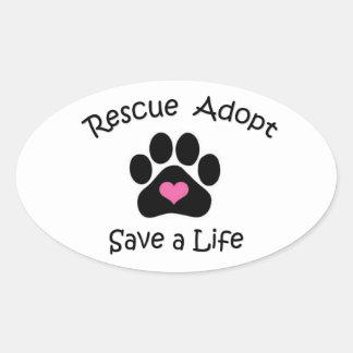 Rettung adoptieren retten einen Leben-Aufkleber Ovaler Aufkleber
