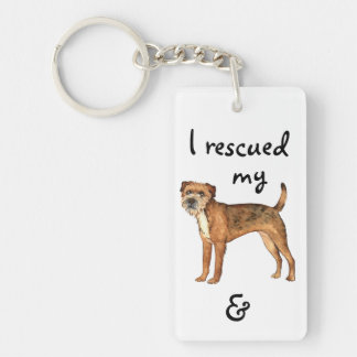 Rettungs-Grenze Terrier Schlüsselanhänger