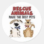 Rettungs-Tiere machen die besten Haustiere Aufkleb Runde Sticker