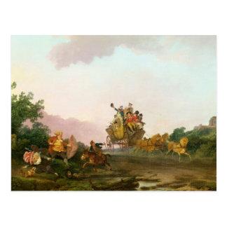 Revellers auf einem Trainer, c.1785-90 (Öl auf Postkarte