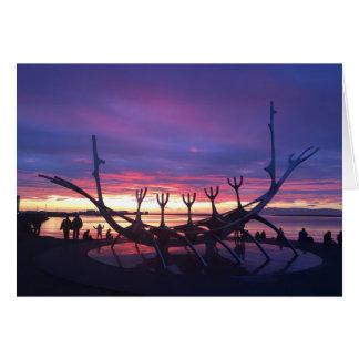 Reykjavik-Sonnenuntergang notecard #3 Karte