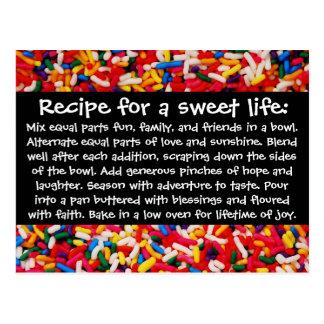 Rezept für eine süße Leben-Postkarte