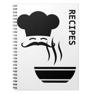 Rezept-Koch und dämpfende Schüssel Notizblock