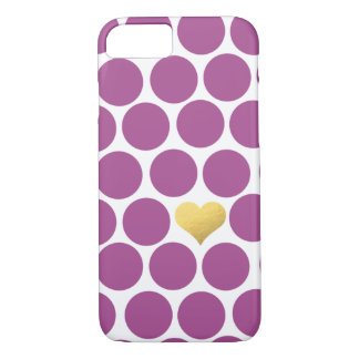 Rhabarber-lila Polka-Punkt-Goldfolien-Herz iPhone iPhone 8/7 Hülle
