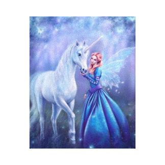 Rhiannon - Unicorn und Schmetterling eingewickelte Leinwanddruck