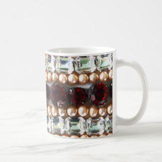 Rhinestones und Perlen - Vintager Schmuck Kaffeetasse