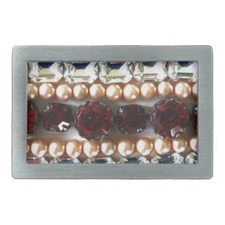 Rhinestones und Perlen - Vintager Schmuck Rechteckige Gürtelschnalle