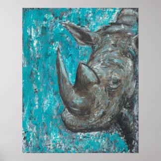 Rhino380 - Abstrakte Rhinosceros Kunst Poster