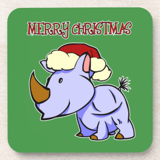 Rhino-frohe Weihnacht-Untersetzer Cocktail Untersetzer