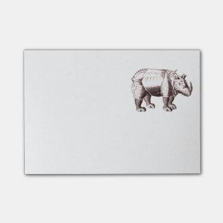 Rhino - Renaissance-Art-Zeichnen eines Nashorns Post-it Klebezettel