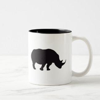 Rhino-Vintager hölzerner Stich Zweifarbige Tasse