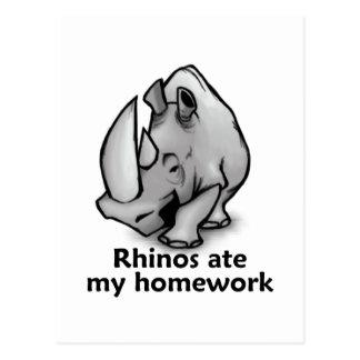 Rhinos aßen meine Hausaufgaben Postkarte