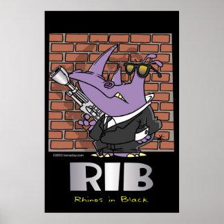 Rhinos im Schwarzen Poster