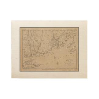 Rhode Island 1780 historische Karte Holzposter