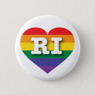 Rhode Island Gay Pride-Regenbogen-Herz - große Runder Button 5,1 Cm