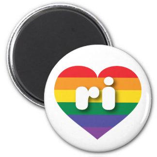 Rhode Island Gay Pride-Regenbogenherz - MiniLiebe Runder Magnet 5,7 Cm