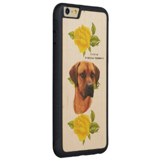 Rhodesian Ridgeback und gelbe Rosen Carved® Maple iPhone 6 Plus Bumper Hülle