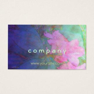 Rhododendron-Rosa u. Bue Aquarell Visitenkarte