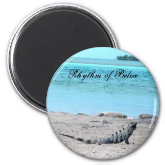 Rhythmus von Belize-Leguan durch das Meer Runder Magnet 5,7 Cm