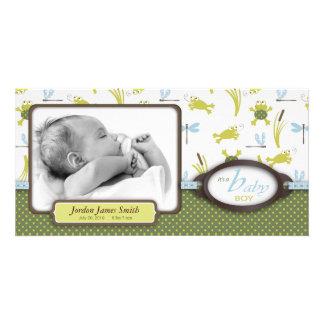 Ribbit Frosch-und Libellen-Geburts-Mitteilung Fotogrußkarten